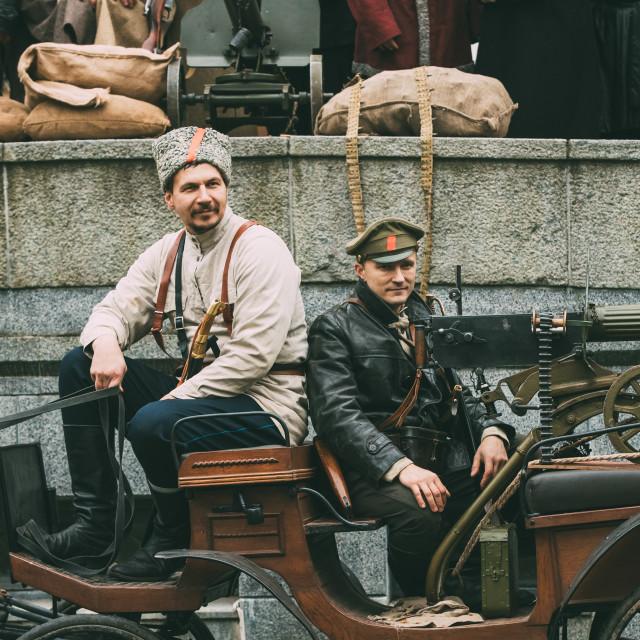 """Gomel, Belarus. Celebration For The Century Of October Revolution. Reenactors..."" stock image"