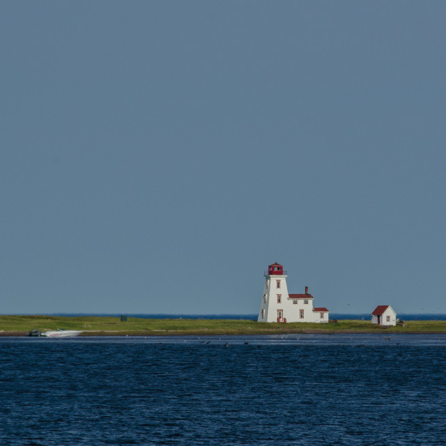 """Distant small lighthouse, Alberton, Prince Edward Island, Canada"" stock image"