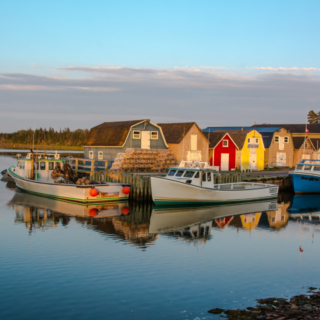 """Peaceful Sunset Fishing Harbour"" stock image"