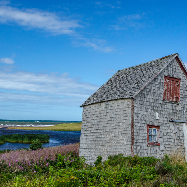 """Dilapidated, tilted gray barn near the coast"" stock image"