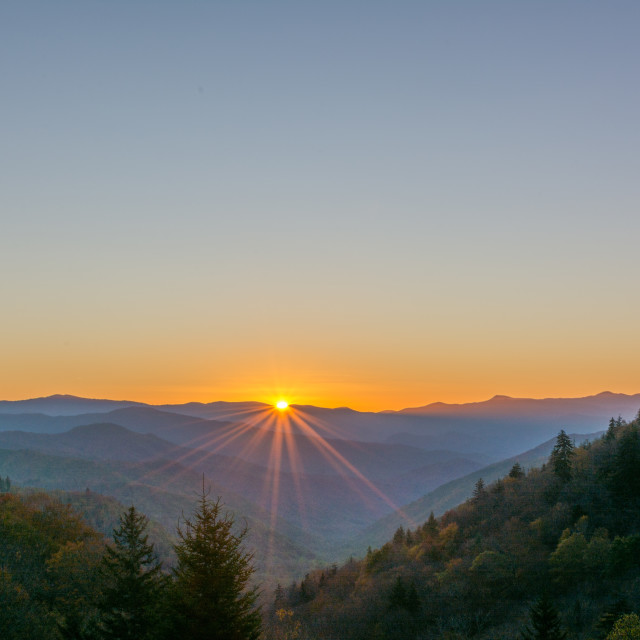 """Colorful Sunrise in the Smoky Mountains"" stock image"