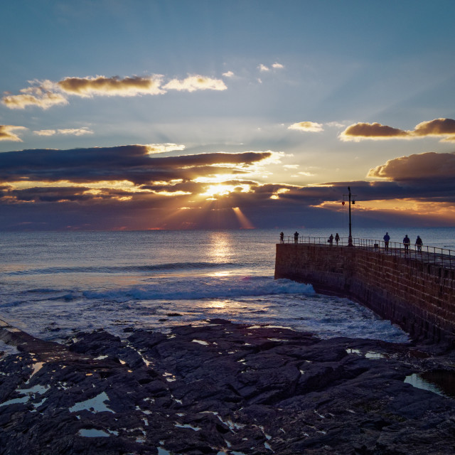 """Sunset at Porthleven Cornwall"" stock image"