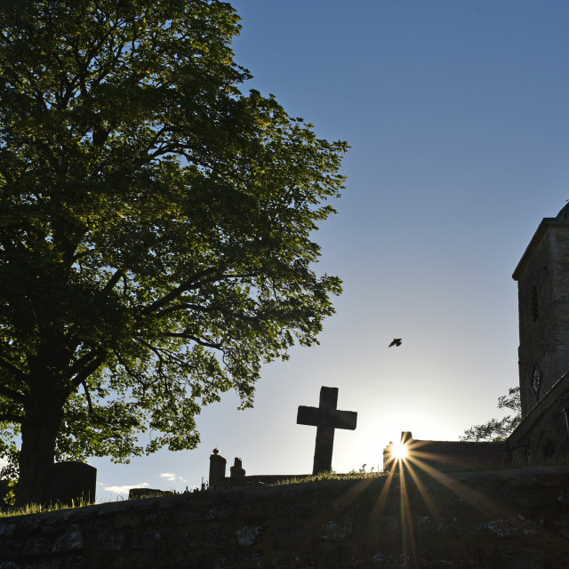 """Sun down over Church Graveyard"" stock image"