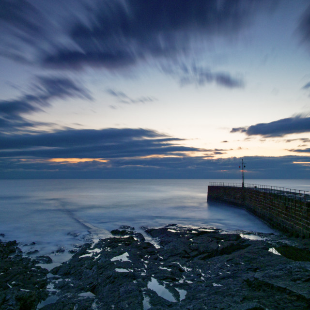 """Sunset at Porthleven"" stock image"