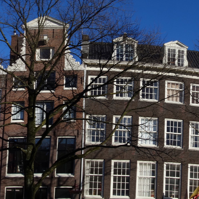 """""""Amsterdam The Netherlands Panorama of Canal houses on the Reguliergracht."""" stock image"""