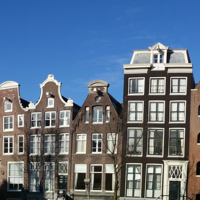 """""""Amsterdam The Netherlands Panorama of Canal houses on Prinsengracht."""" stock image"""
