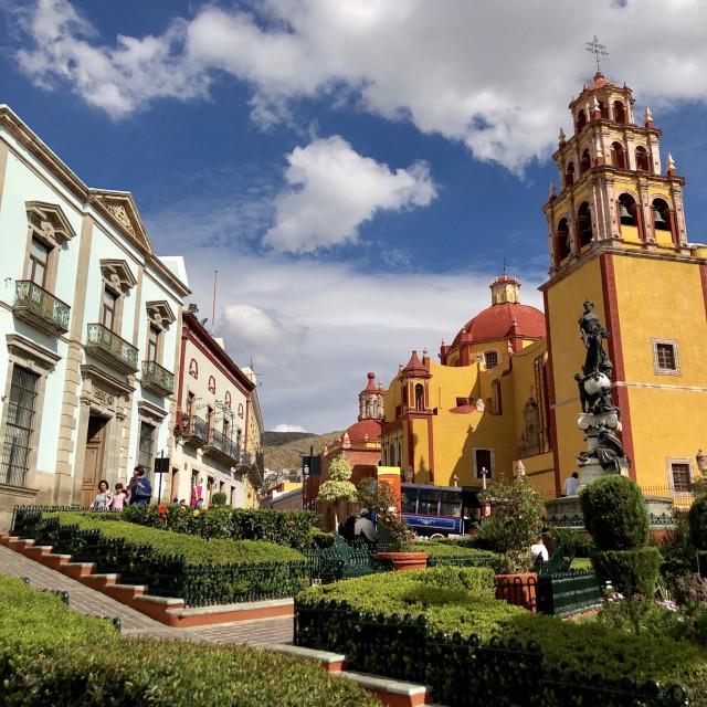 """""""The scenic Plaza de la Paz"""" stock image"""