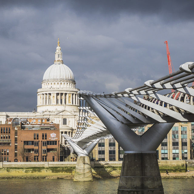 """Millennium Bridge Thames London"" stock image"