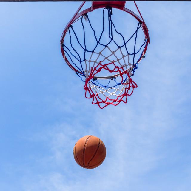 """Basketball Flight Hoop Net Outdoors"" stock image"