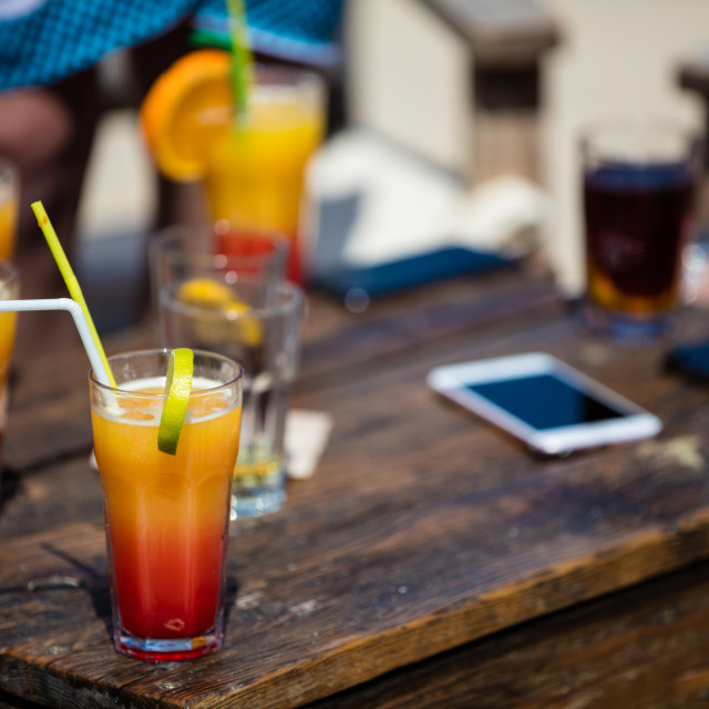 """Alcohol orange daiquiri and cuba libre cocktail"" stock image"