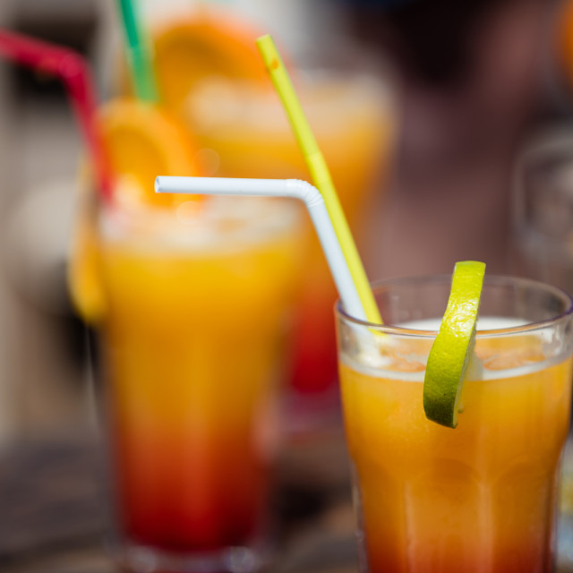 """Alcohol orange daiquiri cocktail on beach bar"" stock image"