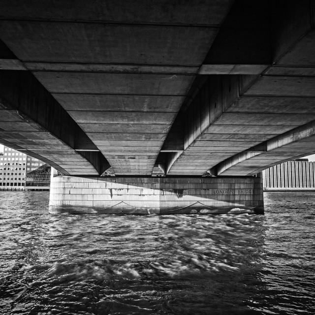 """Beneath London Bridge"" stock image"