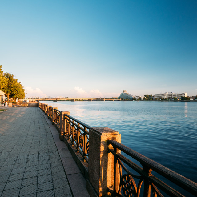 """Riga Latvia. City promenade near Daugava River, National Library Building And..."" stock image"
