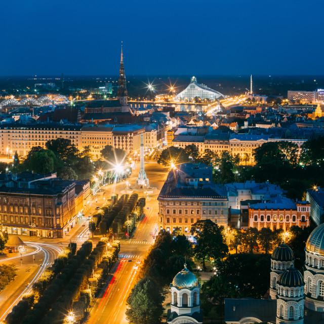 """Riga, Latvia. Cityscape With Famous Landmarks St. Peter's Church, Boulevard..."" stock image"