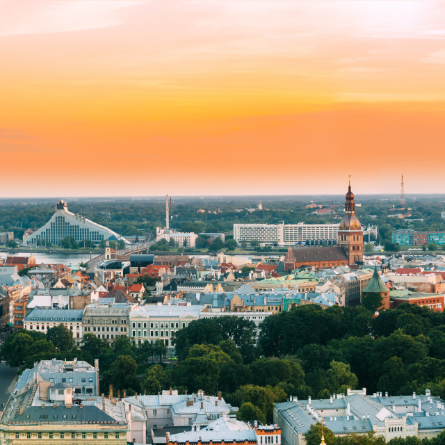 """""""Riga, Latvia. Aerial View Panorama Cityscape At Sunset. TV Tower, Academy Of..."""" stock image"""