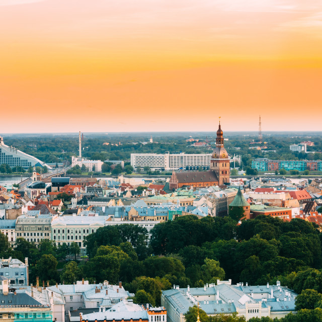 """Riga, Latvia. Cityscape. Top View Of National Library, Riga Dom Dome..."" stock image"