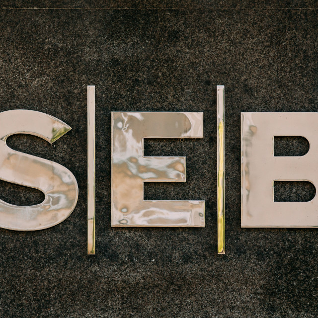 """Vilnius, Lithuania. Close Title Name Logo Of SEB Bank Is Commercial Bank Of..."" stock image"