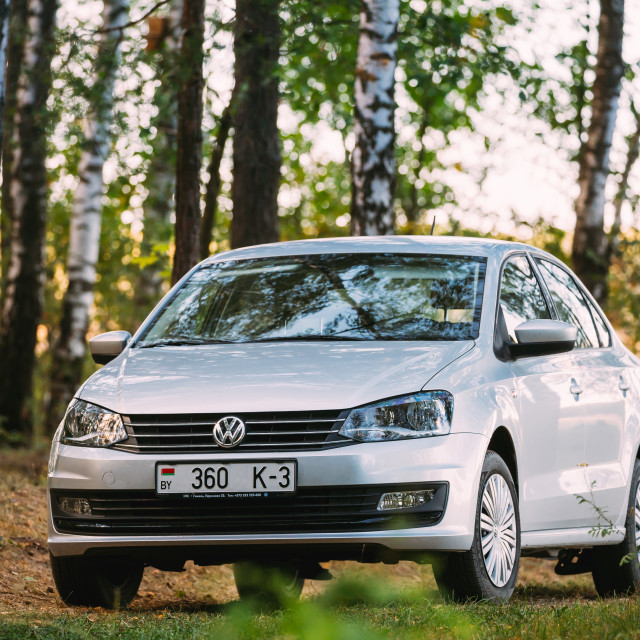 """VW Volkswagen Polo Vento Sedan Car In Summer Birch Woods Forest"" stock image"