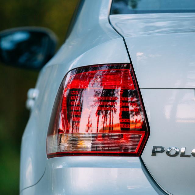 """Red LED Rear Lights Of Gray Color VW Volkswagen Polo Vento Sedan Car"" stock image"