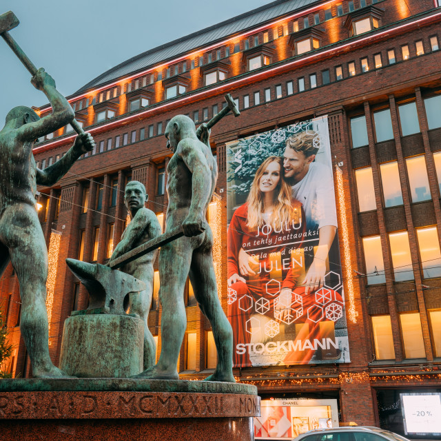 """""""Helsinki, Finland. Night View Of Famous Sculpture Group Three Smiths Statue..."""" stock image"""