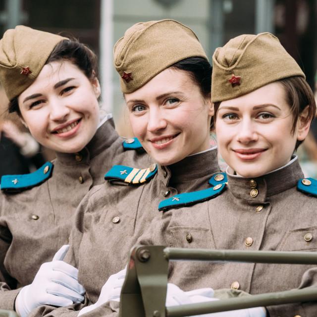 """Gomel, Belarus. Young Women Girls Re-enactors Dressed As Russian Soviet Red..."" stock image"