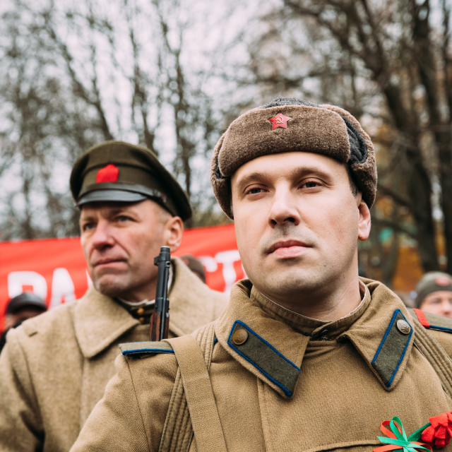 """Gomel, Belarus. Reenactors In The Form Of Soldiers Of Soviet Red Army On..."" stock image"
