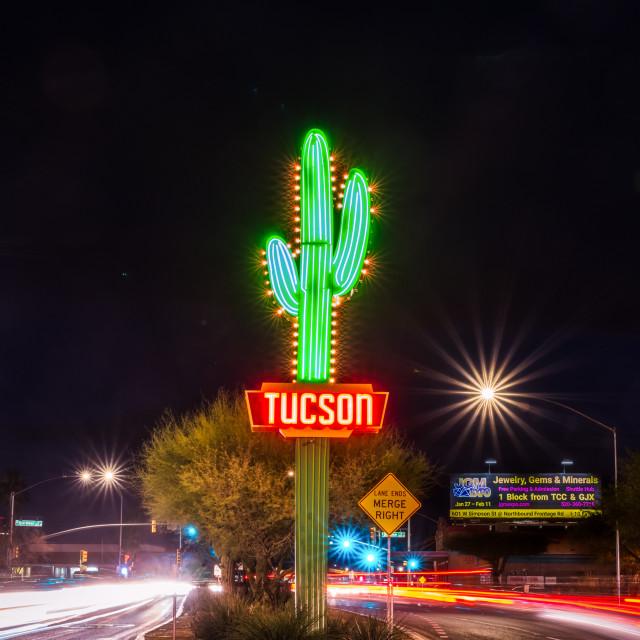 """Famous Saguaro Tucson City sign"" stock image"