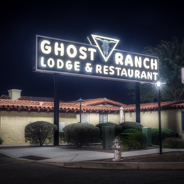 """""""Neon Sign of Ghost Ranch in Tucson"""" stock image"""