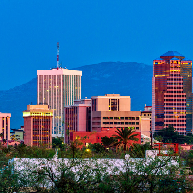 """""""Downtown Tucson at night"""" stock image"""