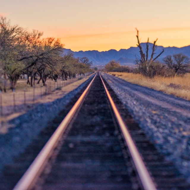 """Train tracks sunset"" stock image"