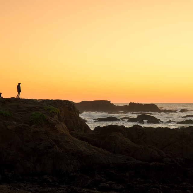 """""""People silhouette Glass Beach in Fort Bragg"""" stock image"""