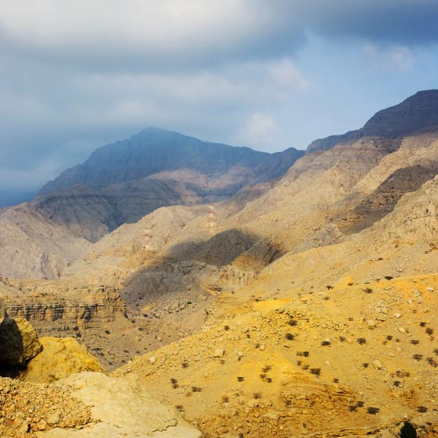 """Jabal Jais mountain and desert landscape near Ras al Khaimah"" stock image"