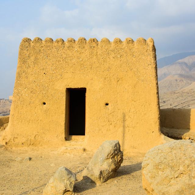 """Dhayah Fort in north Ras Al Khaimah United Arab Emirates"" stock image"