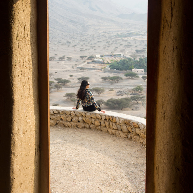 """Girl on a desert hiking trip"" stock image"