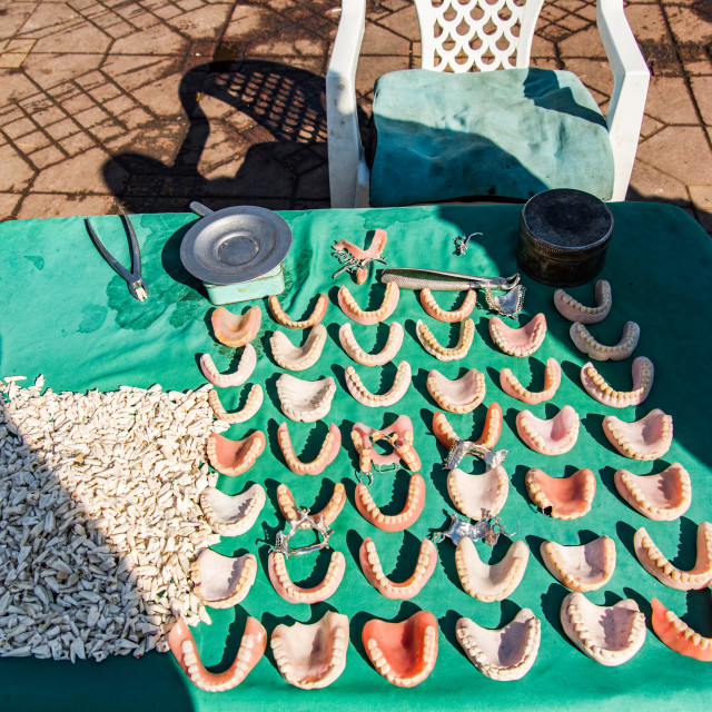 """""""Street stall with handmade denture in Morocco"""" stock image"""
