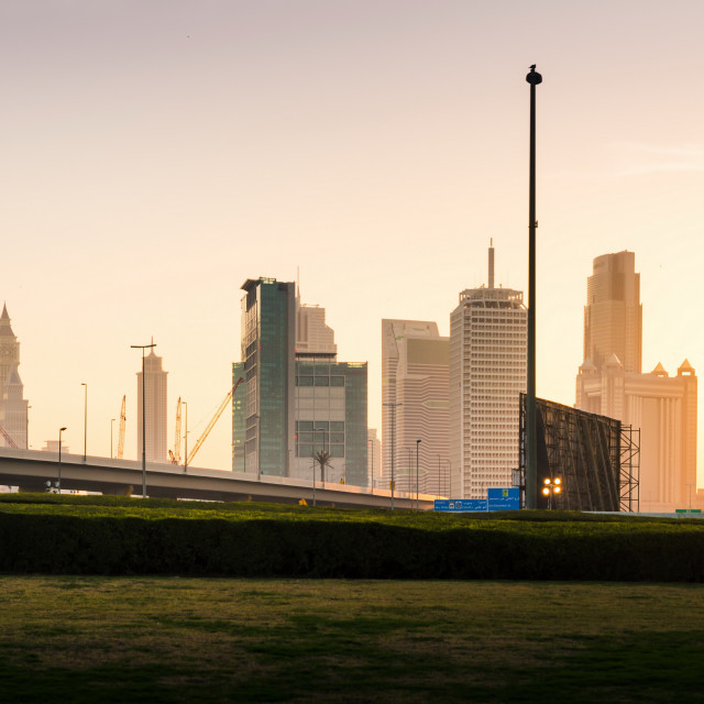 """""""Dubai new city panoramic view at sunset from the park"""" stock image"""