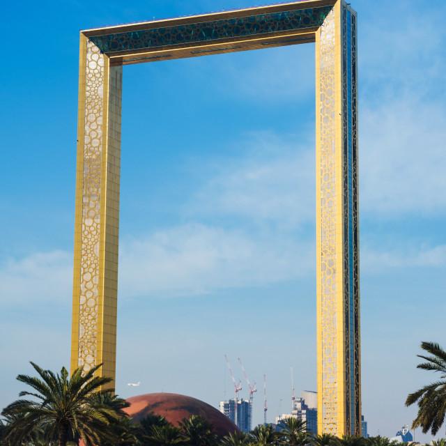 """Dubai Frame building against blue sky"" stock image"
