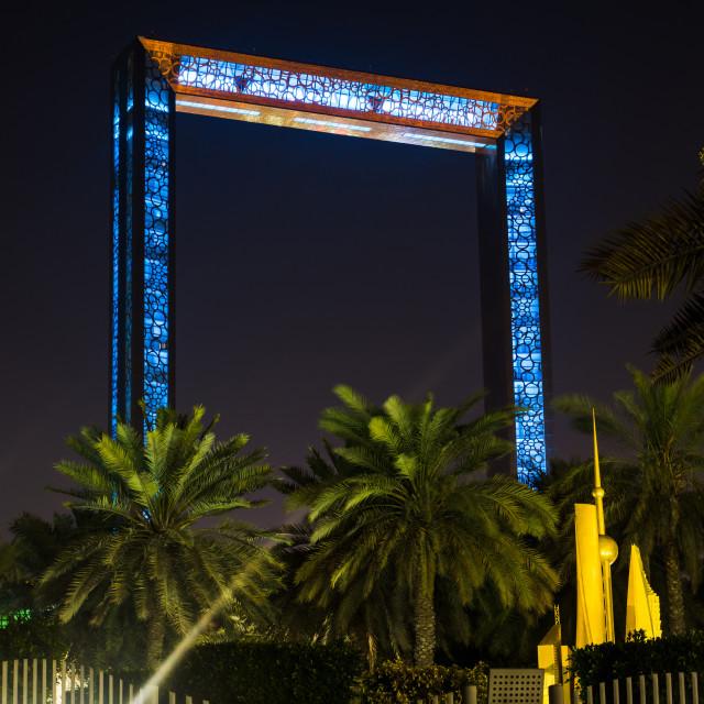 """Dubai Frame building at night"" stock image"