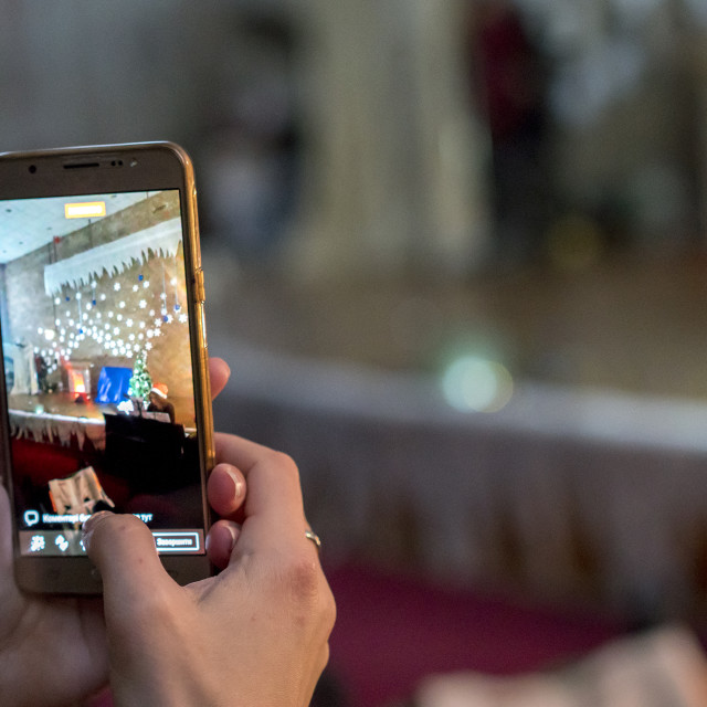 """""""shoots on the smartphone performance on the stage"""" stock image"""