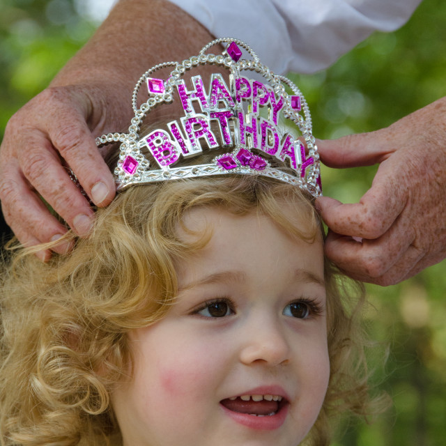 """Curly-haired-child birthday"" stock image"
