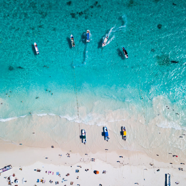"""Boats at the beach in Tulum Mexico aerial view"" stock image"