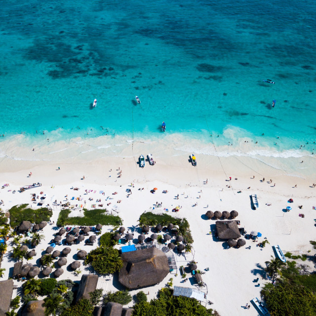 """""""Aerial view of a beach in Tulum Mexico"""" stock image"""
