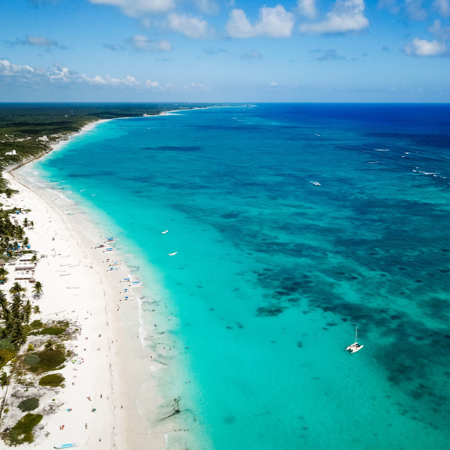 """""""Aerial view of Pescadores beach in Tulum Mexico"""" stock image"""
