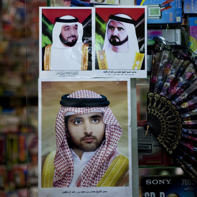 """Emirates Rulers Poster, Dubai"" stock image"