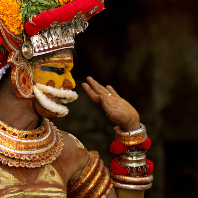 """Man Dressed For Theyyam Ritual, Thalassery, India"" stock image"