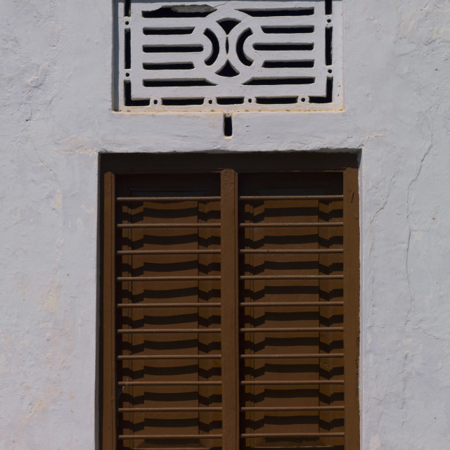 """Bar Window Closed With Particular Carving Above, Pondicherry, India"" stock image"