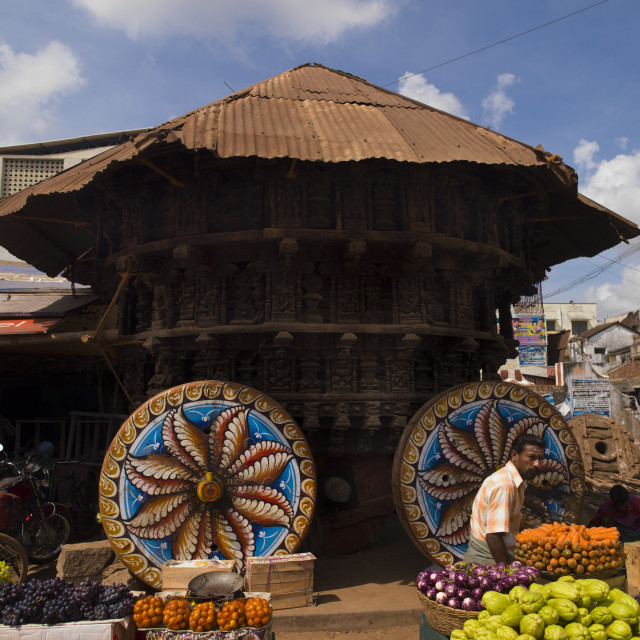 """Ceremony's Ratha (Charriot) With Painted Wheels At Kumbakonam Market Place,..."" stock image"