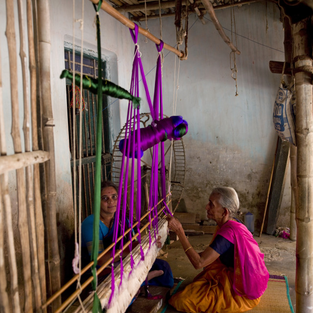 """Sitting Ladies Making Sarees With An Traditional Wooden Weaving Loom,..."" stock image"