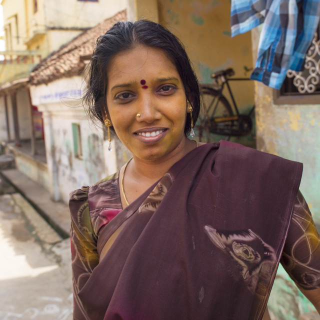 """Indian Woman In Sari With Bindi On Her Forehead Posing In The Middle Of The..."" stock image"