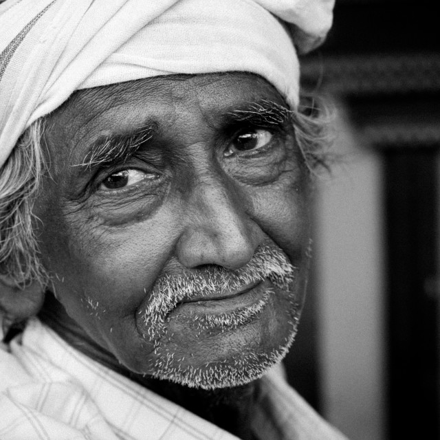 """""""Old Indian Wearing A Turban With A Melancholic Look, Madurai, India"""" stock image"""